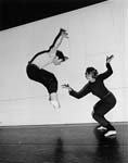 Members of the Human Veins Dance Theatre company rehearsing. On left, Don Asker